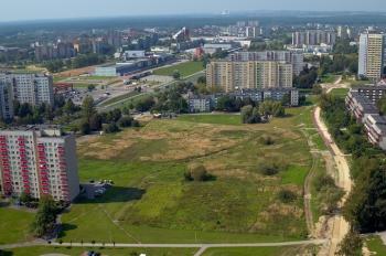 Widok z lotu ptaka Tychy al. Piłsudskiego